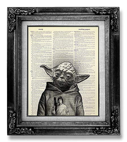 Star Wars Wall Art Black and White Decoration, Yoda Poster for Wall, Funny Star Wars Gifts for Man Boy woman Girl Kids Room Decor, Star Wars Skywalker Poster, Cool Stuff for Teen, Dictionary Art Print