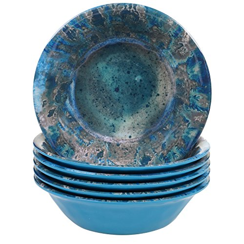 Certified International Radiance Teal Melamine 7.5 All Purpose Bowl, Set of 6