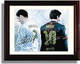 Framed Lionel Messi & Ronaldo Autograph Replica Print