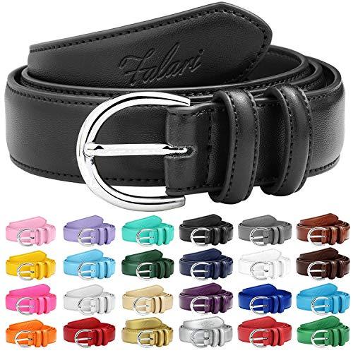 Falari Women Genuine Leather Belt Fashion Dress Belt With Single Prong Buckle 6028-Black-XS (24 Belt Size Womans)