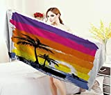 Anniutwo Ride The Wave,Bath Towel,Exotic Beach with Silhouette of Palm Trees and Surfer Ocean Heaven Image,Bathroom Towels,Multicolor Size: W 31.5'' x L 63''
