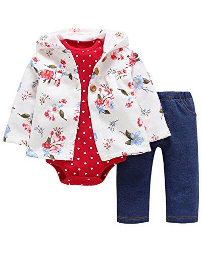 utfit Cotton 3-Piece Hoodie Jacket +Print Bodysuit+Pants Clothes Set White 6M ()