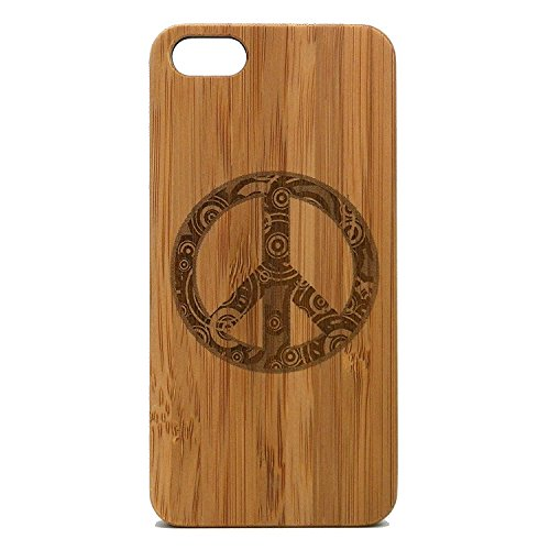 Peace Sign Case for iPhone 7 | iMakeTheCase Eco-Friendly Bamboo Wood Cover | Retro Hippie Chic Peaceful
