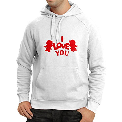 Hoodie Cupid angel say I love you quotes (XXX-Large White Red)