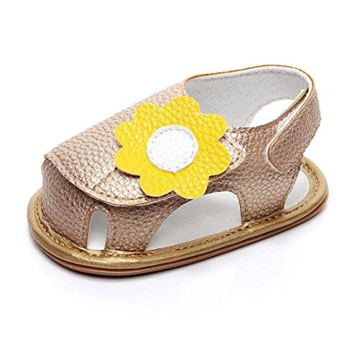 Huhu833 Babyschuhe, Neugeborenes Baby Mädchen Jungen Sommer Schuhe Weiche Sandalen Anti-Rutsch Sandalen Gold