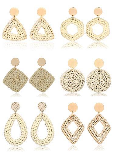 Trounistro 6 Pairs Woven Rattan Earrings Handmade Straw Earrings Lightweight Bohemian Geometric Statement Drop Earrings for Women Girls (Style 4)