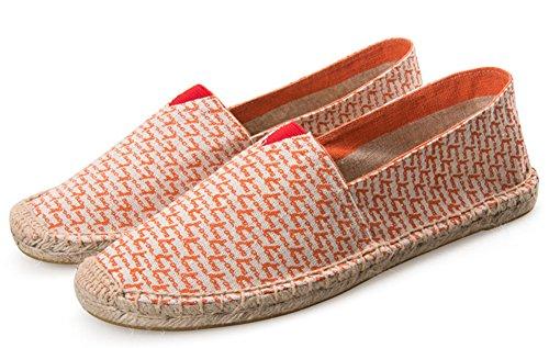 Idifu Dames Heren Unisex Slip Op Espadrilles Plat Instappers Schoenen Oranje