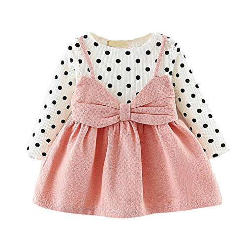 Newborn Infant Baby Girl Princess Dresses, Long Sleeve Sweet Dot Bowknot Pleated Dress Party Gift Outfits (Pink, 12-18 Months) -