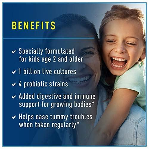51foiGeDRwL. AC - Renew Life Kids Probiotic - Ultimate Flora Kids Probiotic Supplement - Shelf Stable, Gluten, Dairy & Soy Free - 1 Billion CFU - Sun-Kissed Orange, 60 Chewable Tablets