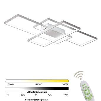LED Deckenleuchte Wohnzimmer lampen Dimmbar Deckenlampe Hängeleuchte Modern  Eckig Designer Fernbedienung Leuchen Metall Acryl Schirm Decke ...