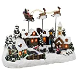 Kurt Adler C5605 Battery Operated Musical LED Village with Santa and Deer, 11-Inch