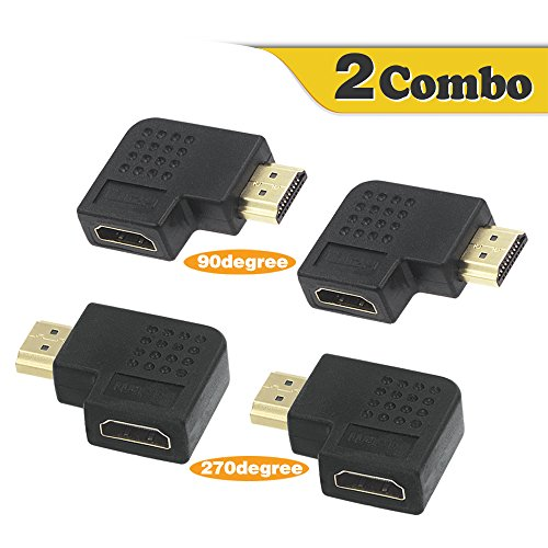 VCE 2 Combos HDMI 90 and 270 Degree Male to Female Vertical Flat Adapter (270 Hdmi Angle Adapter)