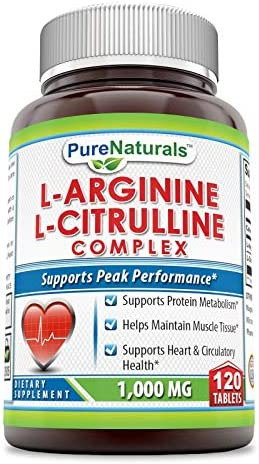Pure Naturals L-Arginine L-Citrulline Complex 1000 Mg – 120 Tablets * Combines Two Amino Acids with Potential Health Benefits * Supports Energy Production * Aids to Improve Athletic Performance an