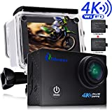 iMoway AC45 4K Ultra HD Wifi Sports Action Camera with 170° Wide Angle Lens, Waterproof & Anti-shake, includes 2 pcs 1050mAh Rechargeable Battery and more accessories Action Cameras iMoway