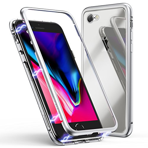 iPhone 6 Plus Case,iPhone 6s Plus Case, ZHIKE Magnetic Adsorption Case Metal Frame Tempered Glass Back with Built-in Magnet Cover for Apple iPhone 6 Plus,iPhone 6s Plus (Clear White)