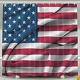 BINGO FLAG Funny Fabric Shower Curtain USA Flag Windy Canvas Waterproof Bathroom Decor With Hooks 60 X 72 Inch