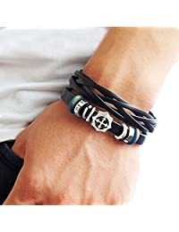 Fashion jewelry bangle bracelet made of black leather and beads, cross charm bracelet couple bracelet with metal woven snapper SL2615