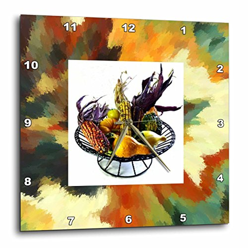 Fall Harvest-Wall Clock, fall leaves wall clock - fall decor