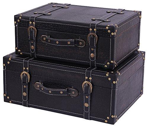Antique Leather Suitcases - Vintiquewise(TM) Antique Style Leather Suitcase with Straps, Black