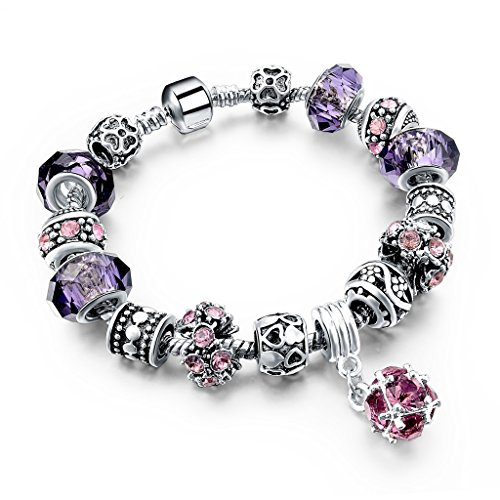 Nana Heart (Long Way Purple And Pink Glass Flower Bead Silver Tone Chain Love Heart Charm Bracelet)