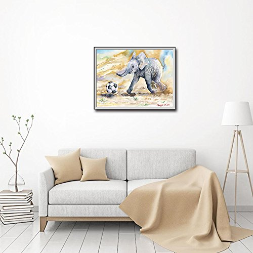 dezirZJjx Modern Canvas Painting£¬Modern Artwork Wall Art Paintings, Creative Little Elephant Soccer Picture Wall Painting Hanging Art Home Decor - 40x60cm