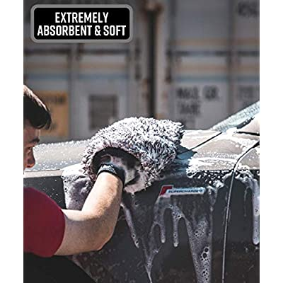 Adam's New Microfiber Car Wash Mitt - Soft, Machine Washable Microfiber That Will Not Introduce New Scratches or Swirls - Holds Tons of Sudsy Water for Effective Washing: Automotive