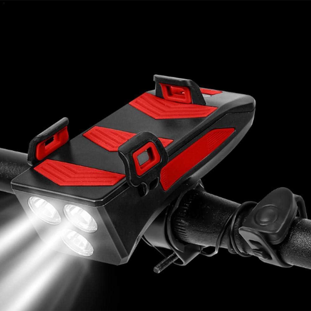 Soporte Tel/éfono M/óvil Bicicleta Luz Bicicleta LED Soporte Tel/éfono M/óvil Luz Delantera Montar Altavoz A Prueba Agua USB 4 En 1 Accesorios Conducci/ón Multifunci/ón Accesorios Bicicleta Recargables USB