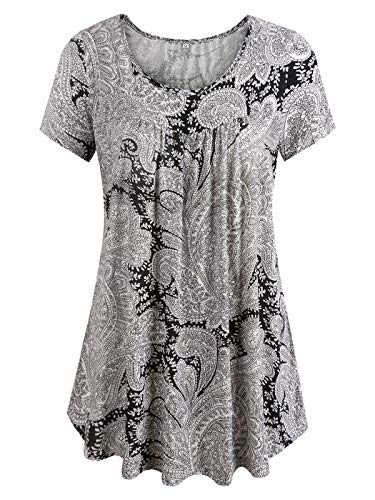 Gessy Casual Tshirts for Women Short Sleeves Scoop Neck Tee Shirts Print Vintage Style Paisley Daily Holiday Wear Special Design Crinkle Lightweight and Flowy Blouse Pop Tops Black/White L