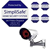 SimpliSafe Security Yard Sign 4 Security Stickers Decals And Fake Security Dummy Camera CCTV Indoor Outdoor with one LED Light Bundle