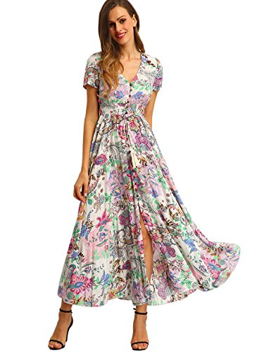 - Milumia Women Floral Print Button Up Split Flowy Party Maxi Dress (Medium, A-Multicoloured)