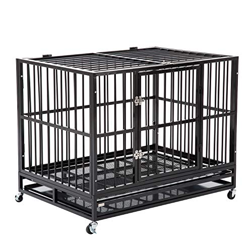 WALCUT 42 Inch Heavy Duty Strong Metal Pet Dog Cage Crate Cannel Playpen w/Wheels (Black- 41.7