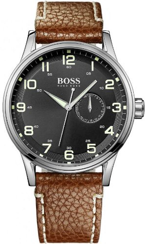 Hugo Boss Gents Stainless Steel Watch with Brown Leather Strap