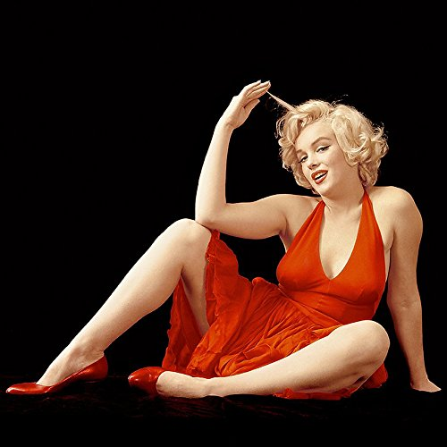 - Buyartforless Rare Photograph of Marilyn Monroe in Red Dress 12x12 Printed on Heavy Stock Made in The USA
