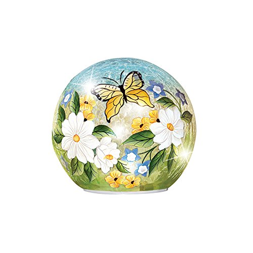 Collections Crackle Glass Magnolia Butterfly Décor Ball Globe Accent Light, ()