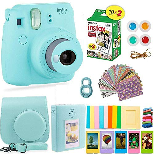 Fujifilm Instax Mini 9 Instant Camera + Fuji Instax Film (20 Sheets) + Accessories Bundle – Carrying Case, Color Filters, Photo Album, Stickers, Selfie Lens + More (Ice Blue)
