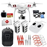 FLY ME NOW DJI Phantom 3 Standard Drone with 2.7K Camera, 3-Axis Gimbal & Manufacturer Accessories + DJI Intelligent Flight Battery + Water-Resistant Hardshell Backpack +7PC Filter Kit (UV-CPL-ND2-400-Lens Hood-Stabilizer) +More