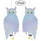 Leegoal 4 Pack Bird Repellent Scare Bird Owls, Bird Blinder Reflective Hanging Owl, Holographic Reflective Woodpecker Deterrent for Home, Garden, Orchard, Greenhouse