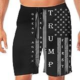 BLACK-DO Men Summer Trump MAGA Vintage USA Flag Quick Dry Volleyball Beach Shorts Board Shorts Medium
