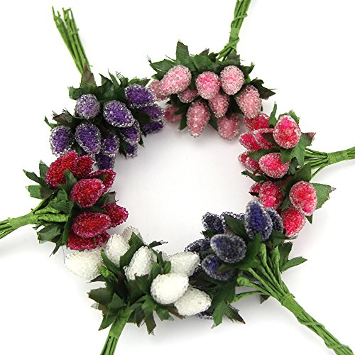 DIY Artificial StrawBerry Flower Bouquet For Home Party Wedding Car Decoration Scrapbooking Wreath Fake Flower (6 (Crystal Berry Wreath)