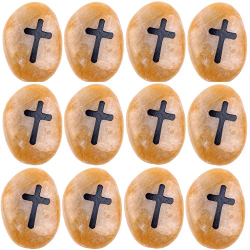 Engraved Cross engraved ( not to ) worry natural Stones (12 stones set- Large 2 - 3 Inches each ) from the Holy Land