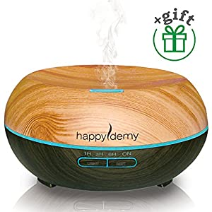 Ultrasonic aromatherapy diffuser 200 ml, Happydemy, + Gift, Essential Oil Diffuser Humidifier Cool Mist, best spa room Diffuser with 7 Colors & 4 Timer Settings