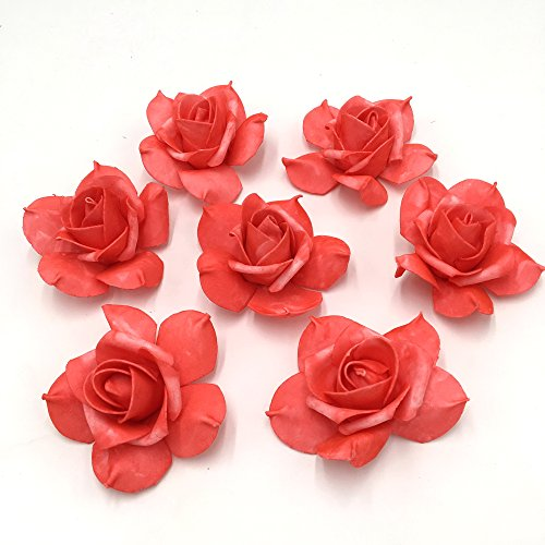 100 Coral Rose Heads Artificial Flowers Watermelon Red Soft Foam Flower Head For Kissing Balls Pomander Wedding Centerpieces Floral (Coral Wedding Centerpieces)