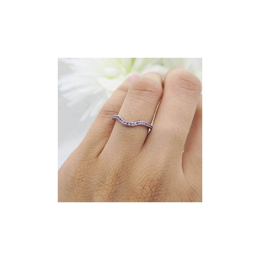 Dazzlingrock Collection 0.15 Carat (ctw) 10K Gold Round Amethyst Anniversary Ring Wedding Guard Band