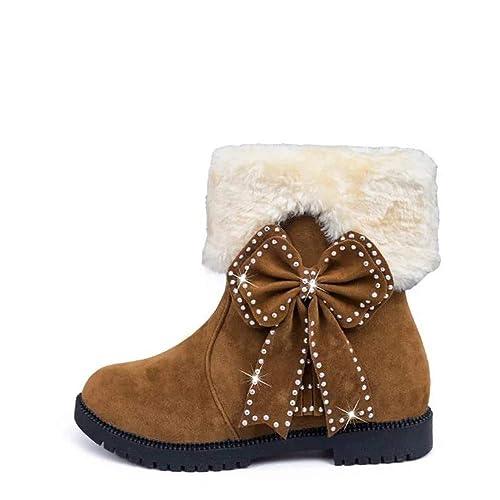 0fe5b4f01ca44a Susenstone Bottes De Neige Femme CompenséEs en Daim Chaussures Hiver Chaud  Ankle Fourrees Plates Talon Carre