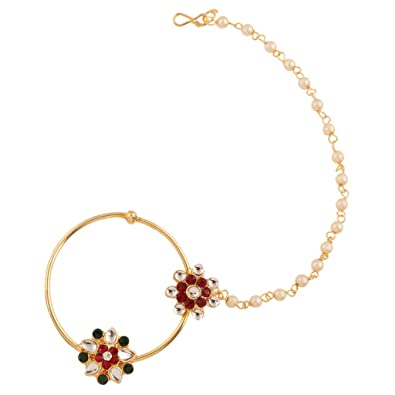 Buy Dancing Girl Nath Bridal Maroon Green Metal Alloy Pierced Nose