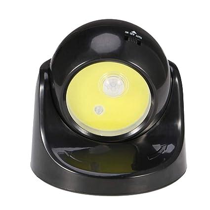 Matefielduk COB LED PIR Sensor de movimiento Luz nocturna Rotativo Pasillo Pasillo Lámpara de pared