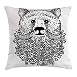 Ambesonne Indie Throw Pillow Cushion Cover, Doodle Style Sketch Bear Portrait with Curly Beard and Mustache Cute Cool Animal, Decorative Square Accent Pillow Case, 20 X 20 Inches, Black White