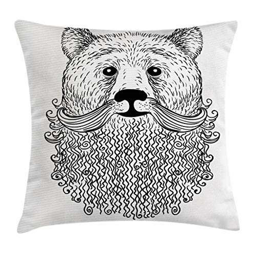 Ambesonne Indie Throw Pillow Cushion Cover, Doodle Style Sketch Bear Portrait with Curly Beard and Mustache Cute Cool Animal, Decorative Square Accent Pillow Case, 20 X 20 Inches, Black White by Ambesonne