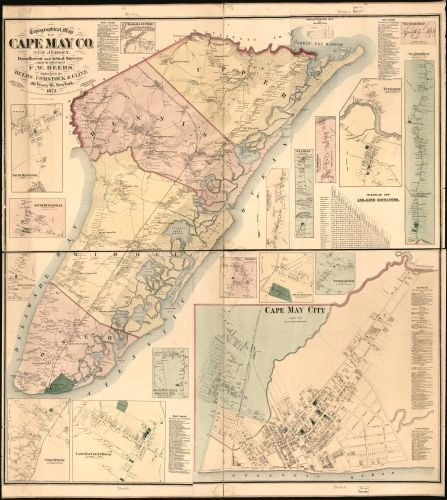 1872 Map Topographical map of Cape May Co, New Jersey : from Recent and Actual surveys - Size: 20x2