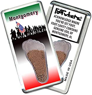 product image for Montgomery FootWhere Souvenir Magnet (MG205-Marchers). Authentic destination souvenir acknowledging where you've set foot. Genuine soil of Montgomery, AL encased inside foot cavity. Made in USA